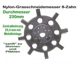 Freischeidermesser Grasmesser Nylon - Scheibe 230 mm 2 Stck. 8-Zahn 25,4 mm Aufnahme Motorsense geschmeidig