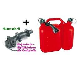 Doppelkanister für Kettensäge + Hünersdorff Kraftstoff Einfüllsystem + manueller Einfüller für Kettenöl