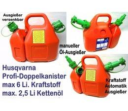 Doppelkanister für Kettensäge Husqvarna Kraftstoff Automatik Einfüller + Öl-Einfüller manuell versenkbar im Kanister