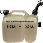 Doppelkanister für Kettensäge von tecomec Klarsicht Kraftstoff 6 Li. Kettenöl 3 Li. 1 manueller Ausgießer