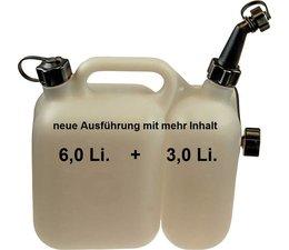 Doppelkanister für Kettensäge von tecomec Klarsicht Wandung Kraftstoff 6 Li. Kettenöl 3 Li. 1 manueller Ausgießer