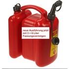 Doppelkanister für Kettensäge von tecomec rot Kraftstoff 6 Li. Kettenöl 3 Li. 1 manueller Ausgießer