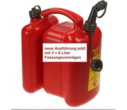 Doppelkanister für Kettensäge von tecomec rot Wandung Kraftstoff 6 Li. Kettenöl 3 Li. 1 manueller Ausgießer