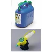 Kanister 5 li. blau mit Einfüllstutzen für Kettensäge Einfüllsystem für Kraftstoff mit manuell u. Automatik Einfüller