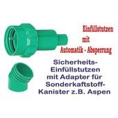 Einfüllstutzen Einfüllsystem Aspen Sonderkraftstoff für Kettensäge Freischneider original Kunststoff - Kanistern 5 Liter