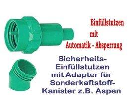 Sicherheitsauslaufrohr + Adapter für Sonderkraftstoff 5 Li. Kanistern von Aspen u. Anderen Katalytbenzin Herstellern