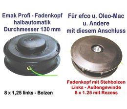 Freischneider Fadenkopf Efco + Oleo-Mac 8x1,25 Li. Bolzen / Außengewinde mit 2,4mm Mähfaden für Motorsense