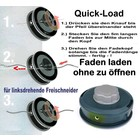 Fadenkopf Efco + Oleo-Mac 10x1,25 Li. Mutter / Innengewinde Quick-Load mit 2,4mm Faden für Motorsense