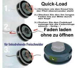 Fadenkopf Efco + Oleo-Mac 10x1,25 Li. Mutter / Innengewinde Quick-Load mit 2,4mm Mähfaden für Motorsense