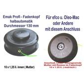 Fadenkopf Efco + Oleo-Mac 10x1,25 Li. Mutter / Innengewinde mit 2,4mm Faden für Motorsense / Freischneider