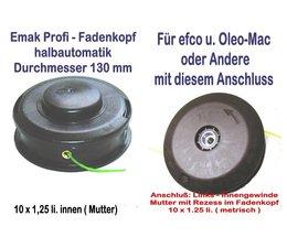 Freischneider Fadenkopf Efco + Oleo-Mac 10x1,25 Li. Mutter / Innengewinde mit 2,4mm Mähfaden für Motorsense