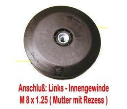 Fadenkopf für Homelite mit 8 x 1.25mm links Innen-Gewinde für Freischneider Motorsense mit 8mm Linksgewinde Stehbolzen am Winkelgetriebe