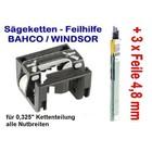 """Feilhilfe EIA BAHCO + 3 Feilen 4,8mm für 0.325"""" Kettenteilung schärfen der Sägekette für Kettensäge"""