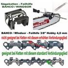 """Feilhilfe EIA BAHCO + 3 Feilen 4,0mm für 3/8""""Hobby Kettenteilung Sägekette ohne Sicherheitsverbindungsglied"""