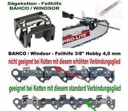 """Feilhilfe EIA BAHCO + 3 Feilen 4,0mm für 3/8""""Hobby Kettenteilung ohne Sicherheitsverbindungsglied an der Sägekette"""