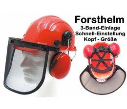 Forsthelm 3-Band-Einlage Forst und Sicherheitshelm Helm Gr. 52 bis 62 mit Gehörschutz + Maschenvisier