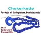 Forstkette 2,0m 4-Kant 8mm Rückekette G10 mit Schlinghaken + Nadel blau 12t. Bruchlast 6t. Zuglast liegend