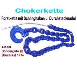 Forstkette G10 8mm 2,5m mit Schlinghaken u. Nadel blau 12t. Bruchlast 6t. Zuglast liegend für Seilgleitbügel + Einhängeöse
