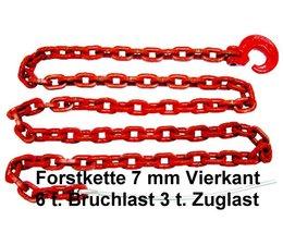Forstkette Chokerkette mit Schlinghaken + Nadel 4-Kant Gliedstärke 7mm Länge.2,5m Bruchlast 6t G8 rot