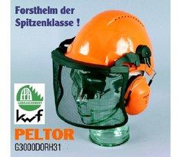Sicherheitshelm Forsthelm Peltor G3000 uvicator Helm mit Gehörschutz H31 Metall-Maschen-Visier V4A mit Sonnenblende