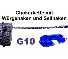 Forstkette 8mm Gliedstärke 4-Kant Profil L. 2,5m - Chokerkette mit Seilhaken und Schlinghaken alles G10