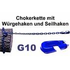 Forstkette Rückekette 8mm 4-Kant Länge 3,0m - Chokerkette mit Seilhaken alles G10