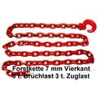 Forstkette 2,0m 4-kant 7mm Rückekette G8 mit Schlinghaken + Nadel rot Bruchlast 6t