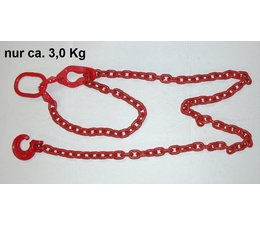 Rückekette 2,5m rund 8mm G8 mit Verkürzung - Lasche Öse 110 x 60 x 13 u. Schlinghaken als Schlepper-Chokerkette