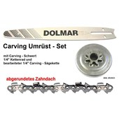 "Carving Umrüstung 1/4"" 25cm Dolmar PS 32 + 35 C+TLC Kettensäge Schwert Kettenrad 1/4"" Sägekette"