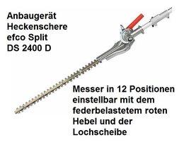 Zusatzgerät Heckenschere für Kombimotor efco Split 2400 D Winkel-Verstellung in 12 Positionen von 0° > 180°