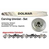 "Carving Umrüstung 1/4"" 25cm Dolmar PS 3410 TH + TCL Kettensäge 1x Schwert 1x Kettenrad 1/4"" 1x Sägekette"