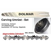 "Carving Umrüstung 1/4"" 30cm Dolmar PS 350 420 460 Kettensäge 1x Schwert 1x Kettenrad 1/4"" 1x Sägekette"