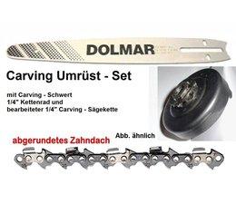 "Carving Umrüstsatz für Dolmar PS 350 + 420 + 460 Kettensäge 1x Schwert 30cm 1x Kettenrad 1/4"" 1x Sägekette"