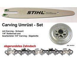 "Umrüstsatz STIHL 010 / 011 Kettensäge Typ 1120 Sternkettenrad 1/4"" + Stihl-Schwert 30cm + Carving - Sägekette"