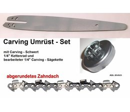 "Umrüstsatz STIHL Mod 020 Kettensäge Typ 1114 Sternkettenrad 1/4"" + UK Schwert 30cm + Carving - Sägekette"