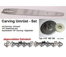 "Umrüstsatz STIHL MS192 T/C Kettensäge Typ 1137 Sternkettenrad 1/4"" + UK Schwert 25cm + Carving - Sägekette"
