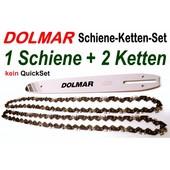 """Schneidgarnitur Dolmar ES PS Kettensäge 1 Schwert 35cm + 2 Ketten 52 Trgl. 3/8""""H 1,3mm Nut"""