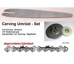 "Umrüstsatz STIHL MS192 T/C Kettensäge Typ 1137 Sternkettenrad 1/4"" + UK Schwert 30cm + Carving - Sägekette"