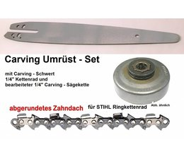 """Umrüstset Stihl MS170 180 210 230 250 017 018 021 025 Typ 1123 Ringkettenrad 1/4"""" + Schwert 30cm + Sägekette"""