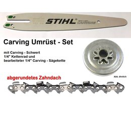 Umrüstset 1/4 STIHL MS170 180 210 230 250 017 018 021 025 Typ 1123 1x Sternkettenrad 1x Kette 1x Schwert 30cm Carving Kettensäge