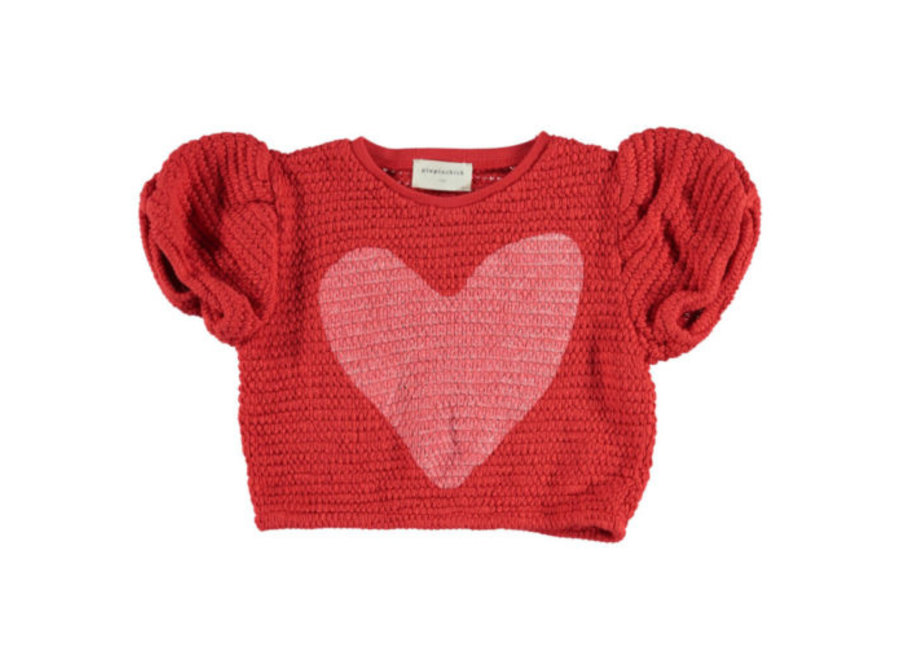 Piupiuchick shirt red with heart textured jersey