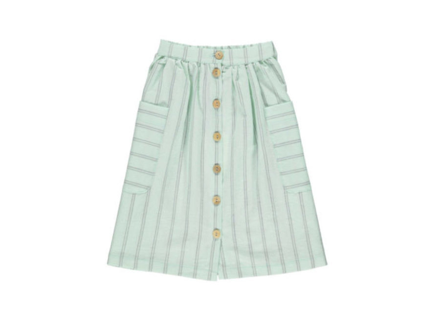 Piupiuchick long skirt greenwater & grey stripes