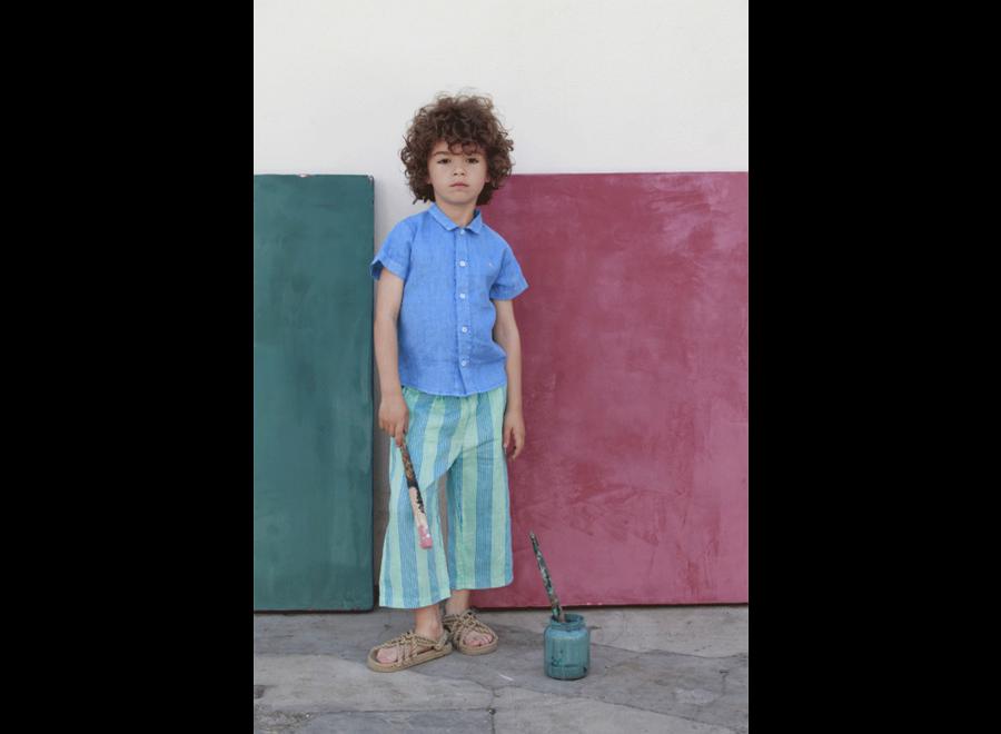 Bonmot linen trouser multi stripes turquoise