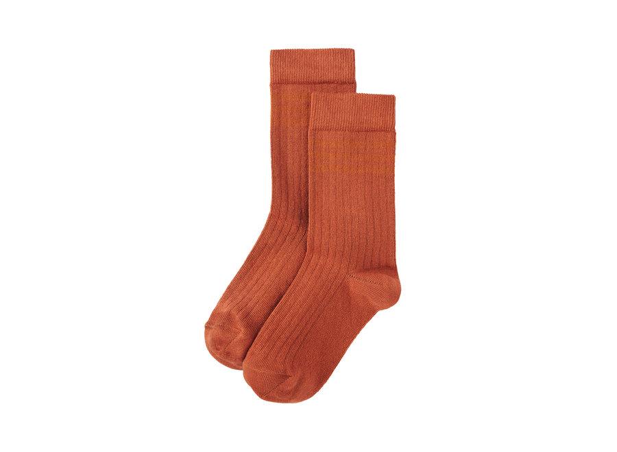 Rib Socks Light Terracotta / Dark Ginger