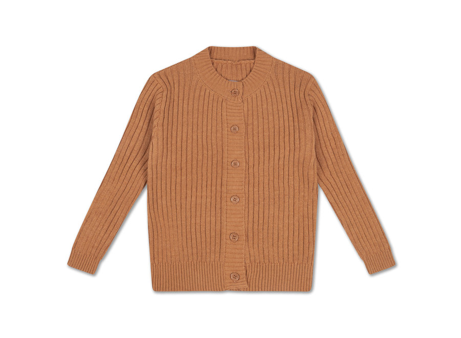 knit ground neck cardigan burnt autumn