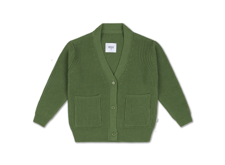 knit grandpa cardigan hunter green