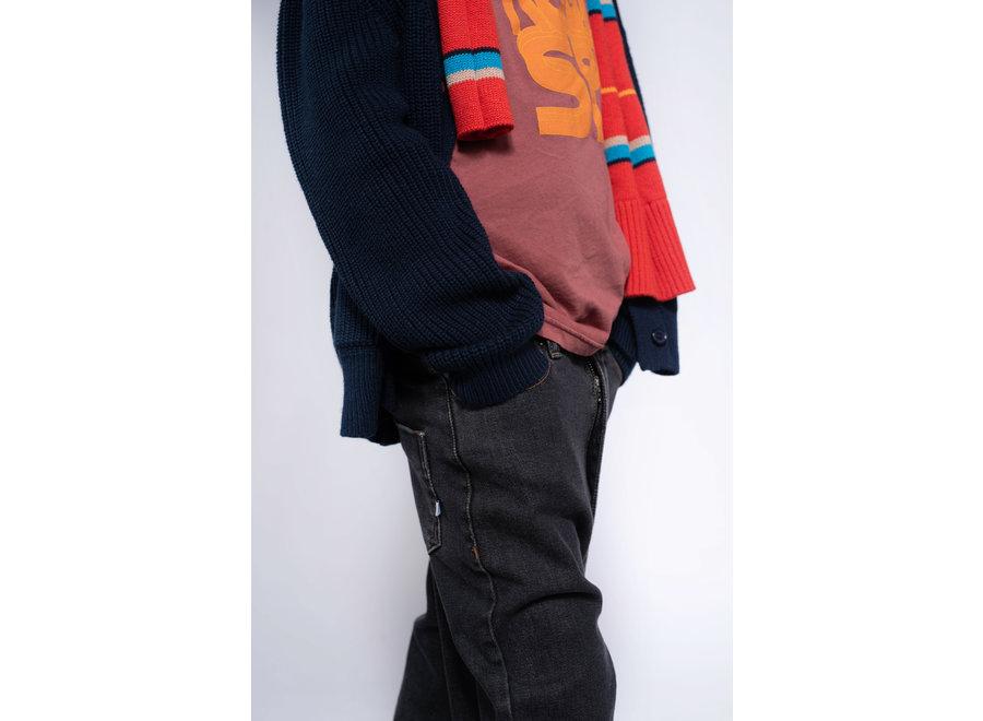 knit grandpa cardigan navy blue