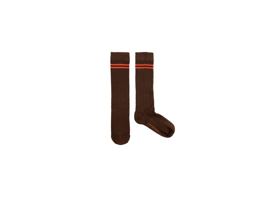 Stripes high socks ultra brown