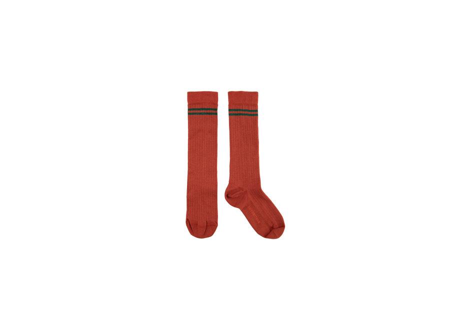 Stripes high socks sienna