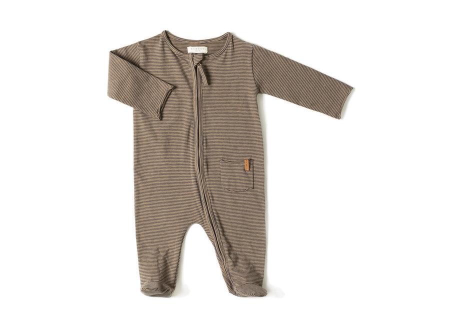 Zip onesie Olive stripe